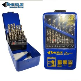"BENZ WERKZ BMB-29HSIN HSS Twist Drill Bit Set 29 pieces (1/16"" to 1/2"") x 1/64"" for Metal Aluminium & Wood"