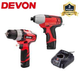 DEVON 7297-LI-12 5262 Cordless Drill Driver and 5228 Cordless Impact Driver 12V Combo Kit with 1.5Ah Battery & Charger