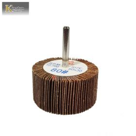 KINGDOM ABRASIVE Shaft Mounted Sanding Flap Wheel 60 mm x 30 mm x 6mm Grit 80