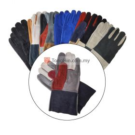 "Industrial Grade Mixed Colours Welding Hand Glove / Work Glove / Furniture Leather Glove 12"" (Random)"