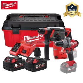 """MILWAUKEE M18 Combo Kit CHX-502C SDS-Plus Hammer Drill + FPD-0 Percussion Drill + 26"""" Jobsite Work Box with 5.0Ah Battery & Charger and Fixtec Chuck"""