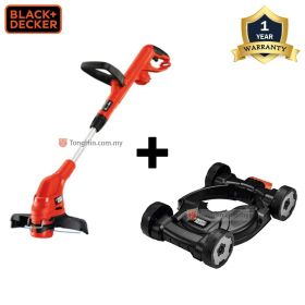 BLACK + DECKER GL5530 Grass String Trimmer 530W + CM100 City Mower Trimmer Deck