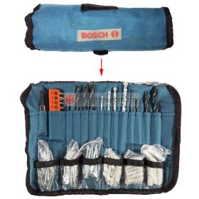 BOSCH Essential Drill Bit & Wall Plug Accessories Set (with Foldable Bag)