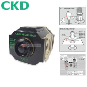 CKD R3000-10 FRL Air Filter Regulator with Pressure Gauge 1/4""