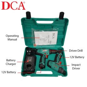 DCA ADKIT01 12V Combo Kit Cordless Driver Drill ADJZ10-10 + Cordless Impact Driver ADPL02-8 with 2.0Ah Battery and Charger