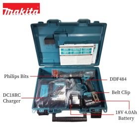 "MAKITA DDF484RME 18V Cordless Driver Drill 13mm (1/2"") with 4.0Ah Battery and Charger"