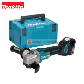 "MAKITA DGA404RFJ2 18V Cordless Angle Grinder 100mm (4"") with 3.0Ah Battery & Charger & Makpac Box"