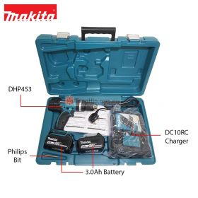"MAKITA DHP453RFE 18V Cordless Hammer Driver Drill 13mm (1/2"") with 3.0Ah Battery and Charger"
