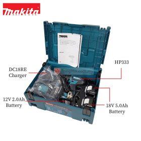 "MAKITA HP333DNX10 12V Max Cordless Hammer Driver Drill 10mm (3/8"") with 5.0Ah Battery and Charger"