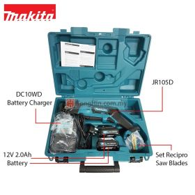 "MAKITA JR105DWAE 12V Max Cordless Recipro Saw 13 mm (1/2"") with 2.0Ah Battery and Charger"