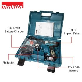 MAKITA TD110DWAE 12V Max Cordless Impact Driver with 2.0Ah Battery and Charger